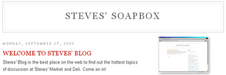 Click Here to Enter Steves' WeBlog